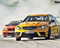 Фото бесплатно тор gear, мерседес 63, bmw m3, гонка, машини, кларксон, машины