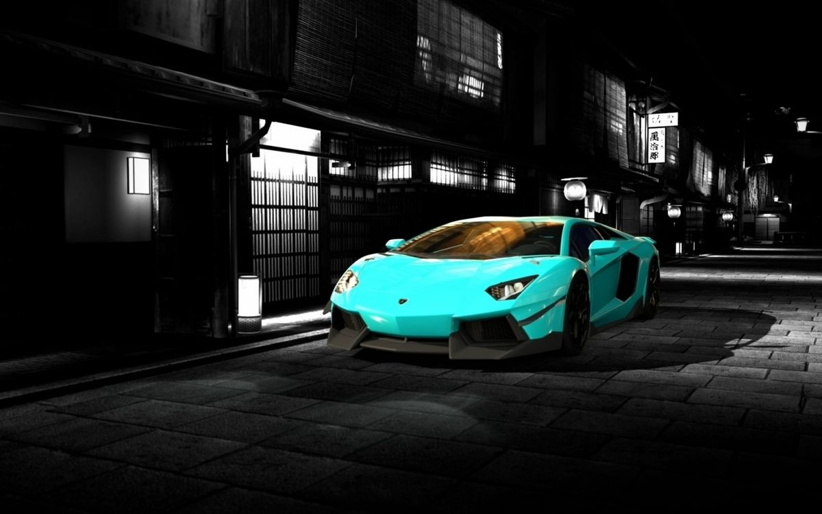 Фото бесплатно автомобиль, голубой, спортивный, диски, зеркало, стекло, улица, вечер, ночь, бампер, машины, машины