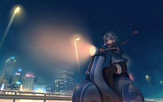 Фото бесплатно девочка, скутер, руль