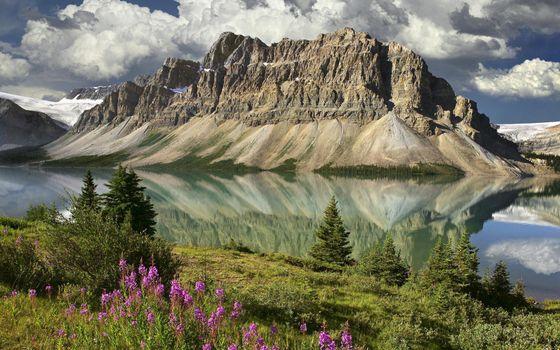 Бесплатные фото горы,вода,река,деревья,небо,облака,природа