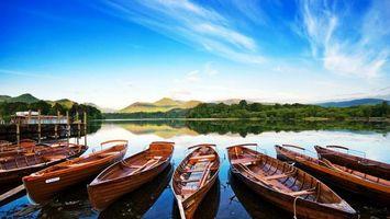 Бесплатные фото лодки,причал,небо,голубое,облака,горы,холмы