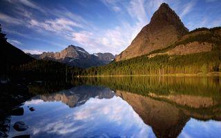 Бесплатные фото озеро,отражение,горы,скалы,лес,деревья,небо
