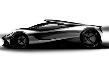 Фото бесплатно спорткар, рисованный, черно-белый