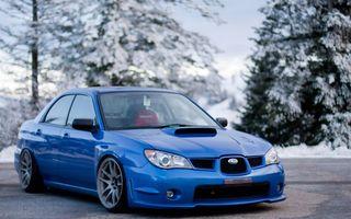 Фото бесплатно subaru, голубой, зима, машины