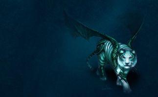 Бесплатные фото тигр,крылья,окрас,зверь,дикий,фон,синий
