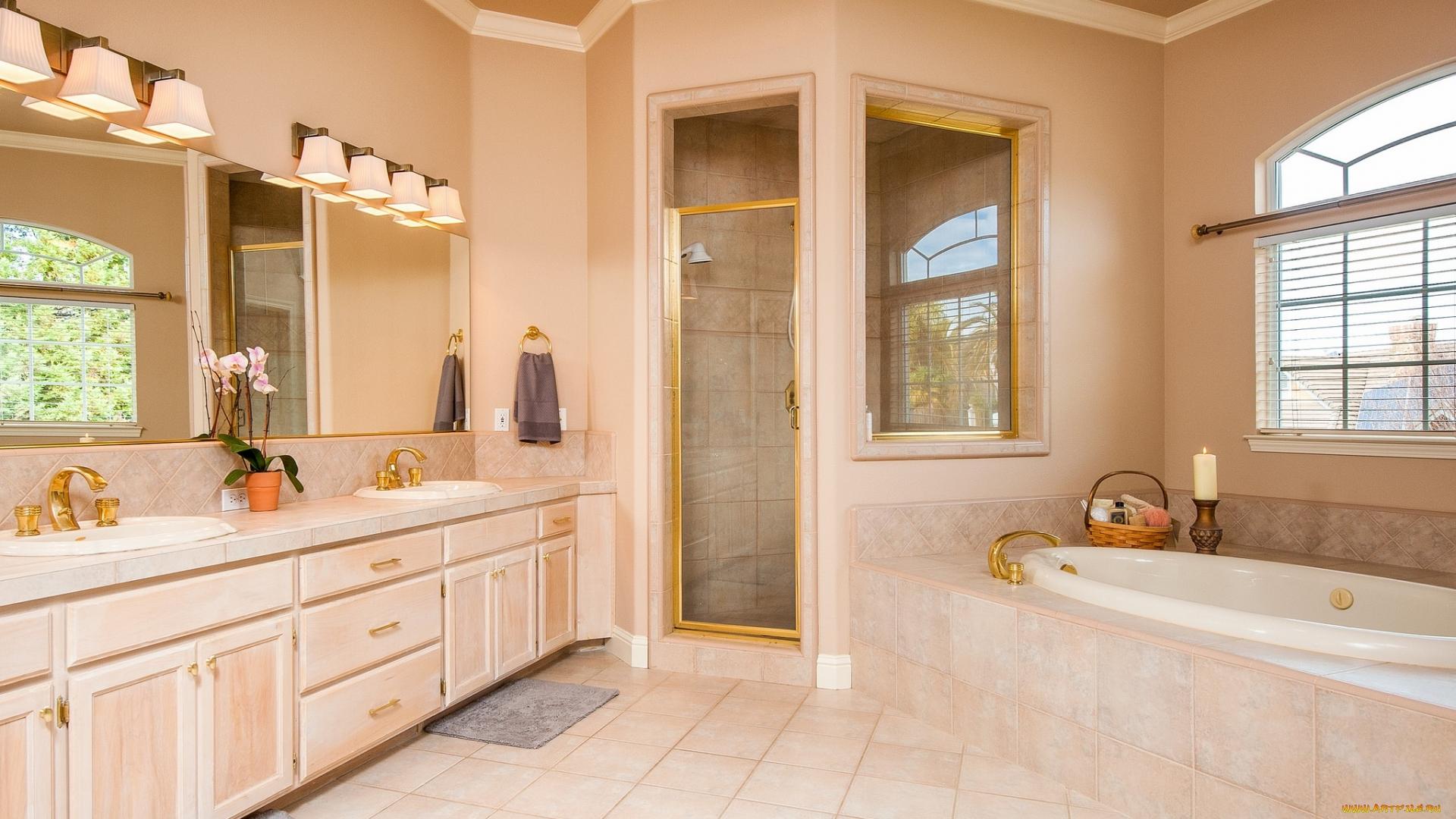 ванна, окно, двери
