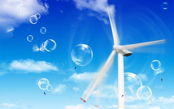 Фото бесплатно ветряк, вращается, пузыри