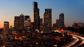 Бесплатные фото здания, высокие, красиво, огни, дорога, машины, окна