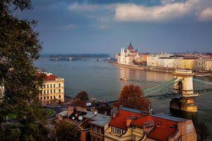 Фото бесплатно Цепной мост, подвесной мост через реку Дунай, Будапешт