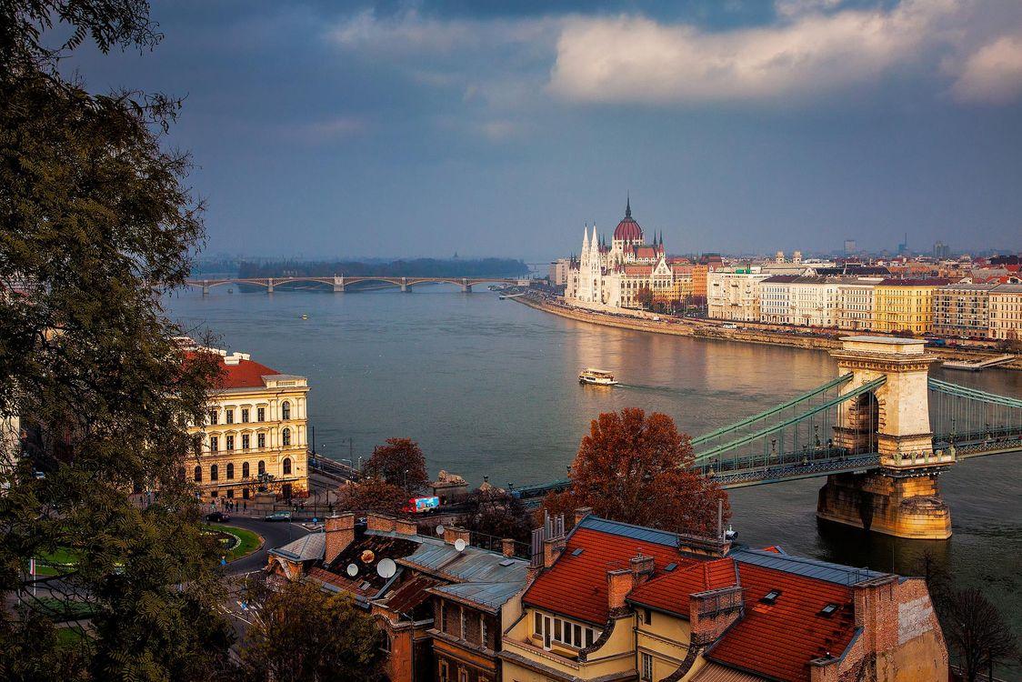 Фото бесплатно Цепной мост, подвесной мост через реку Дунай, Будапешт - на рабочий стол