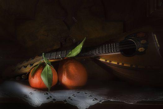 Фото бесплатно Мандолина, апельсины, фрукты, натюрморт