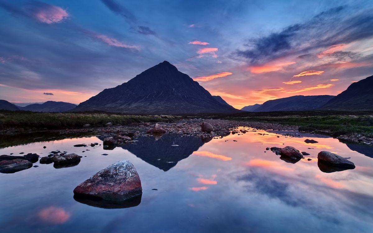 Фото бесплатно вода, камни, отражение, горы, небо, облака, закат, пейзажи