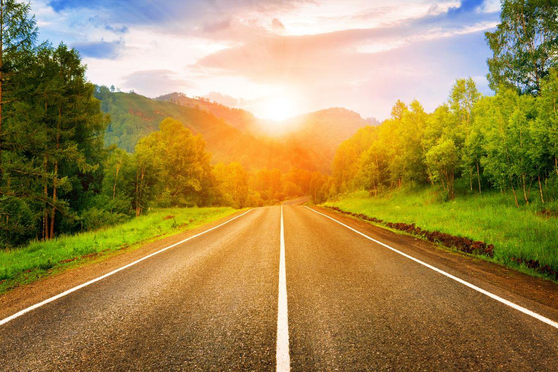 Фото бесплатно дорога в горы, закат, загородная дорога - на рабочий стол