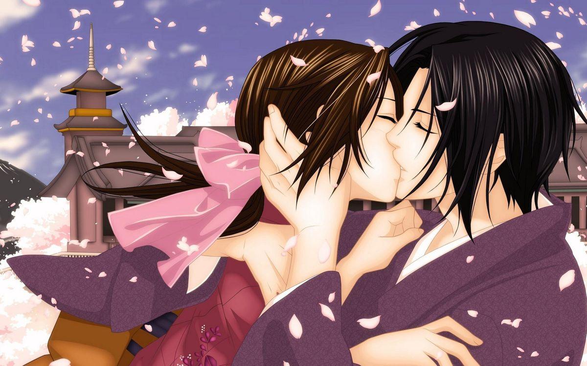 Фото бесплатно парень, девушка, поцелуй, лепестки, полет, здание, аниме