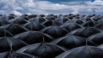 Заставки зонтики, черные, капли