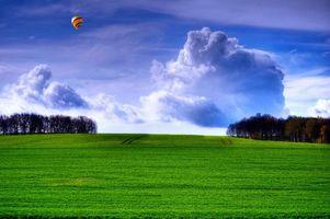 Фото бесплатно деревья, горы, воздушный шар