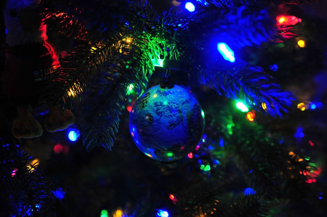 Фото бесплатно новогодние игрушки, елка, ветки, шарик, гирлянда, новый год