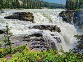 Бесплатные фото Athabasca Falls,Jasper National Park,Атабаска водопад,Национальный парк Джаспер,река,скалы,природа