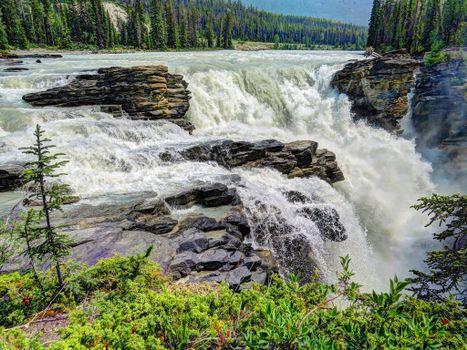 Athabasca Falls, Jasper National Park, Атабаска водопад, Национальный парк Джаспер, река