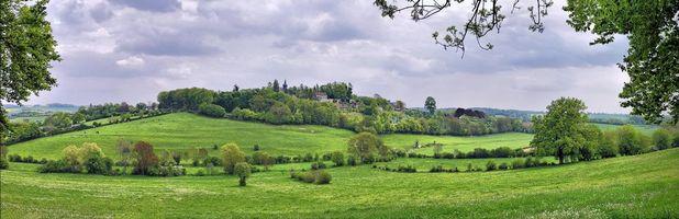 Бесплатные фото Жерберуа,Франция,поля,холмы,дома,деревья,пейзаж