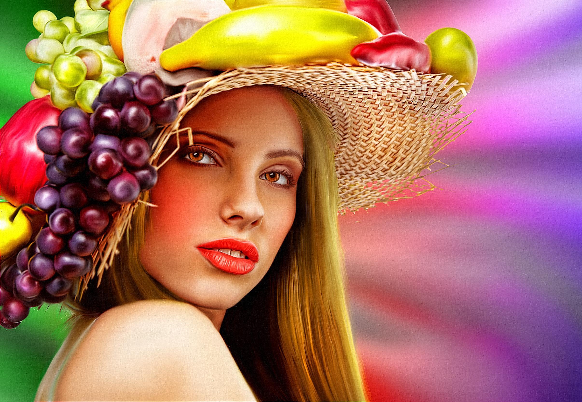 Обои Девушка с цветами и фруктами, портрет, холст