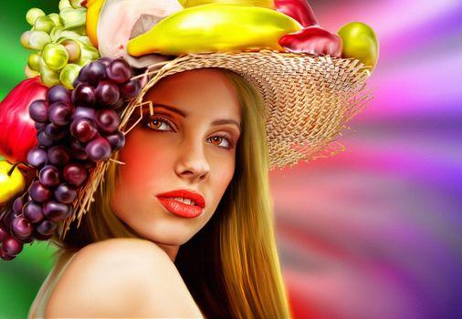 Девушка с цветами и фруктами,портрет,холст