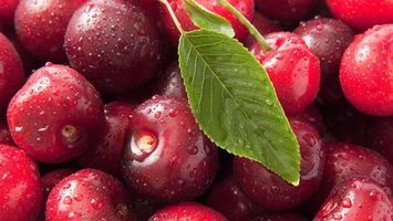 Бесплатные фото ягода, вишня, спелая, листья, зеленые, капли, вода