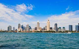 Бесплатные фото море,катер,яхты,побережье,дома,здания,высотки