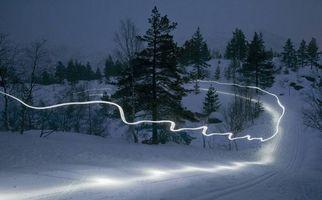 Бесплатные фото закат, зима, горы, деревья, Норвегия, пейзаж