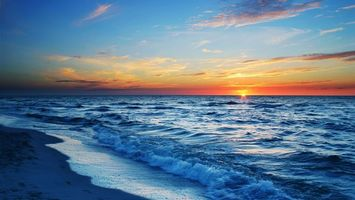 Фото бесплатно море, волны, закат