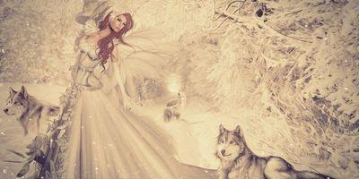 Бесплатные фото девушка,фантастическая девушка,волки,фантастика,art