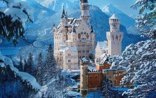 Фото бесплатно зима, замок, башни, горы, снег, деревья