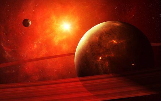 Бесплатная картинка планеты, спутники