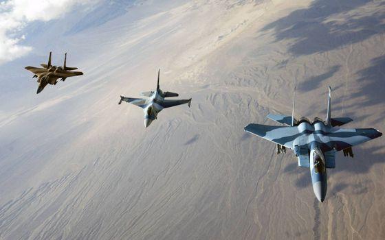 Фото бесплатно истребители России, полет, пески