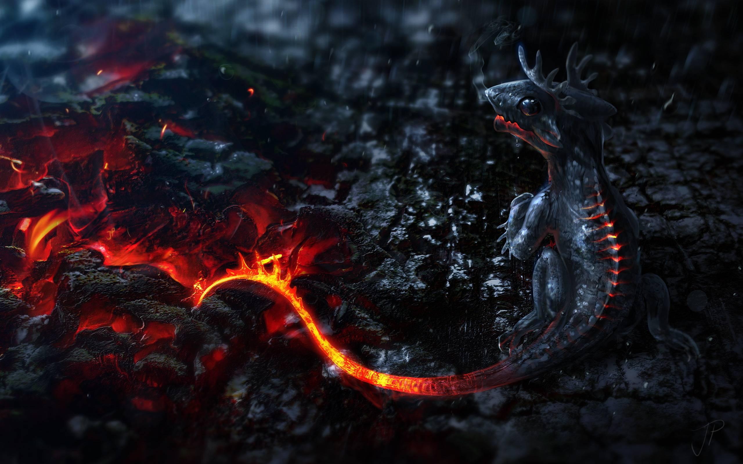 обои лава, скульптура, дракон картинки фото
