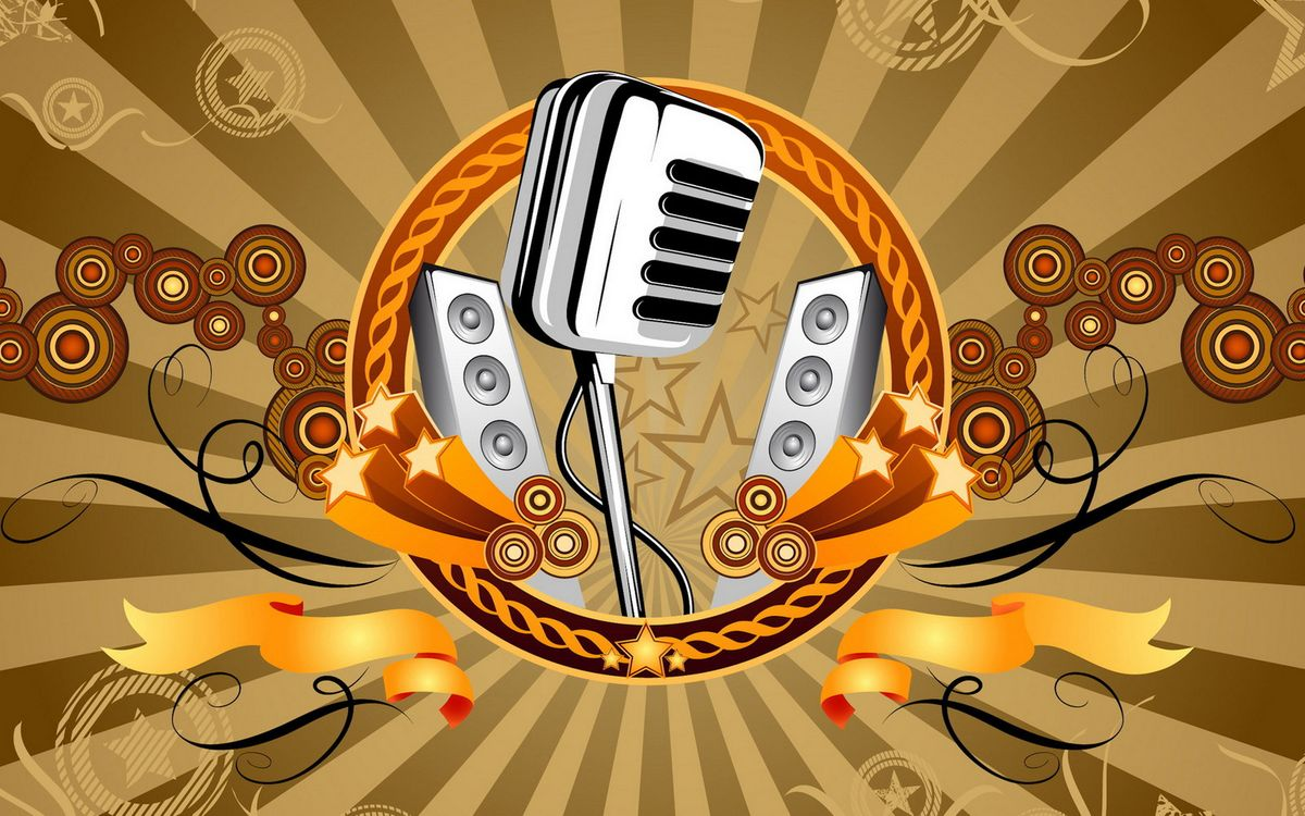 Фото бесплатно микрофон, колонки, звезды - на рабочий стол