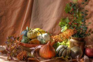 Фото бесплатно овощи, тыквы, ваза