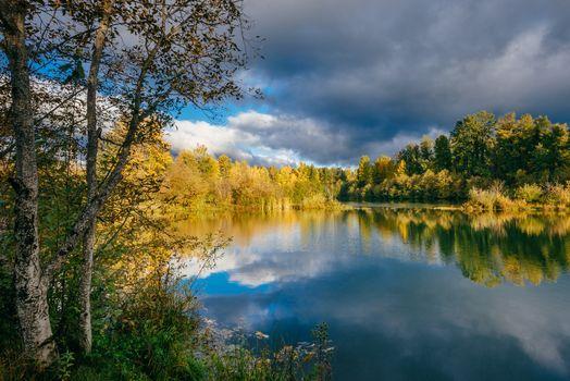 Бесплатные фото Истон Пруды - Истон,Штат Вашингтон,осень,водоём,деревья,пейзаж