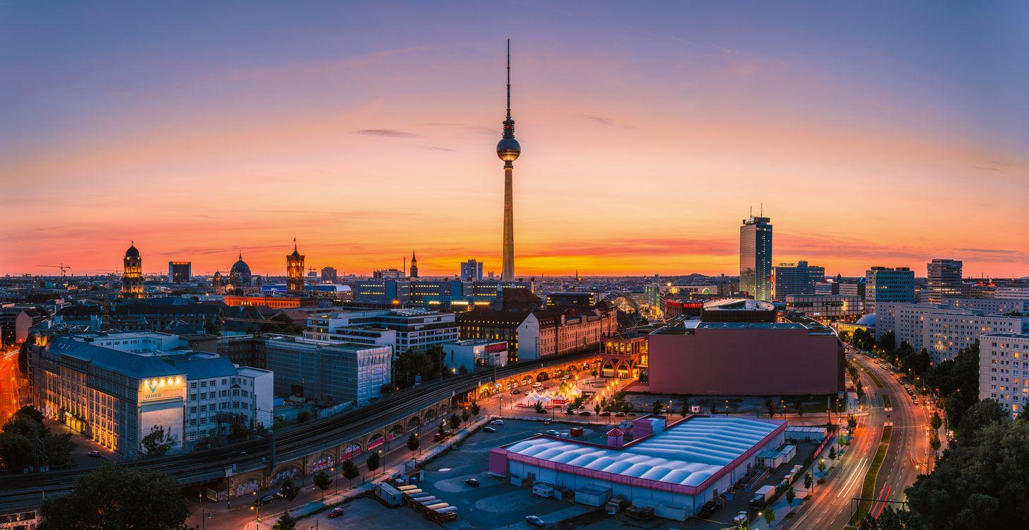 Фото бесплатно столица Германии, город, огни - на рабочий стол