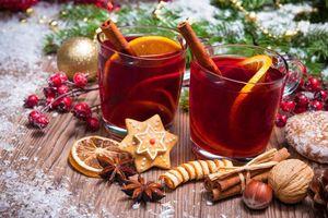 Фото бесплатно Новогодний стол, фон, новогодние обои