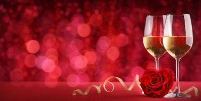 Фото бесплатно вино, роза, с Днем святого Валентина