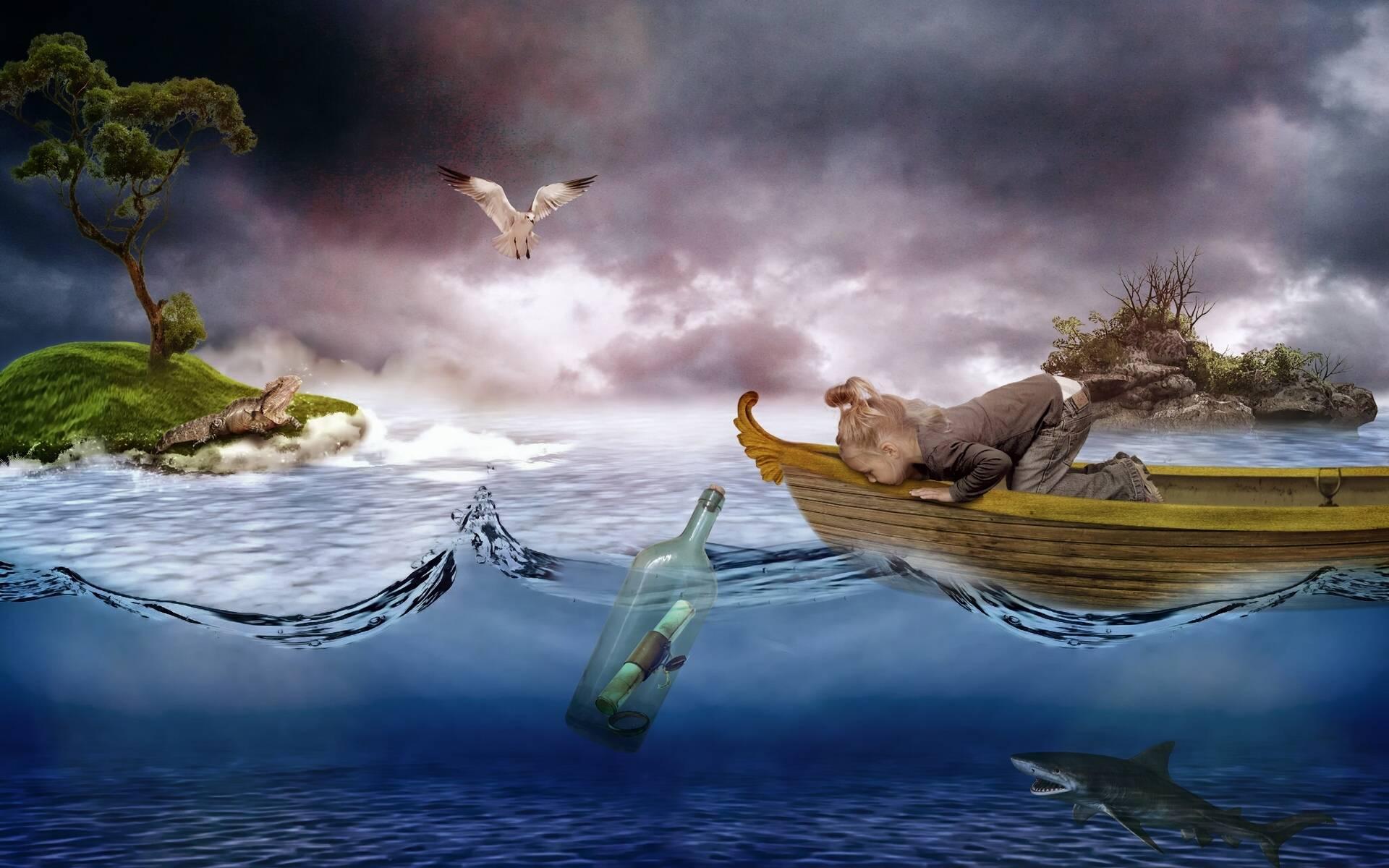 Обои девочка, лодка, море, бутылка