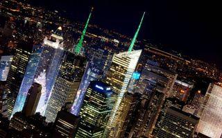 Бесплатные фото ночной Нью-Йорк,ночь,небоскребы,свечение,огни,улицы,дома