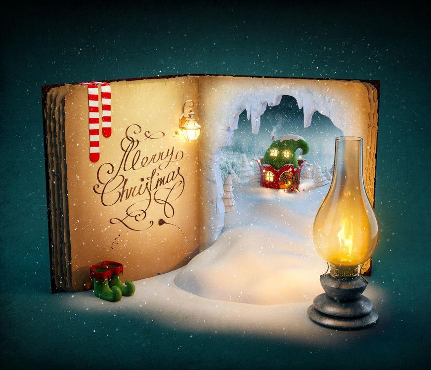 Фото бесплатно новый год, новогодний фон, новогодние обои, С новым годом, новогодний клипарт, новогоднее настроение, книга, лампа, новый год