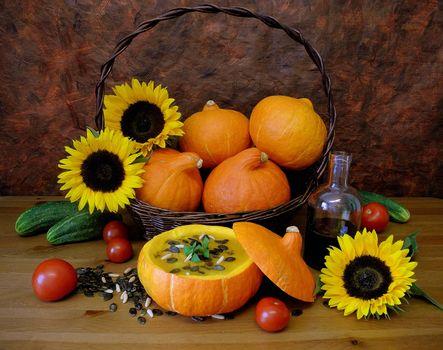 Фото бесплатно тыквы, огурцы, овощи, натюрморт