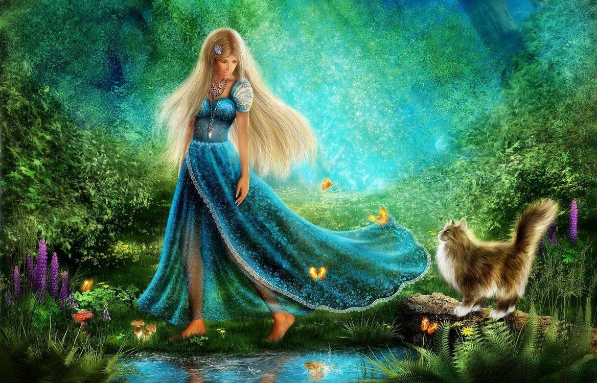 Фото бесплатно Walk at the Forest of Wonders, босоногая, девушка - на рабочий стол