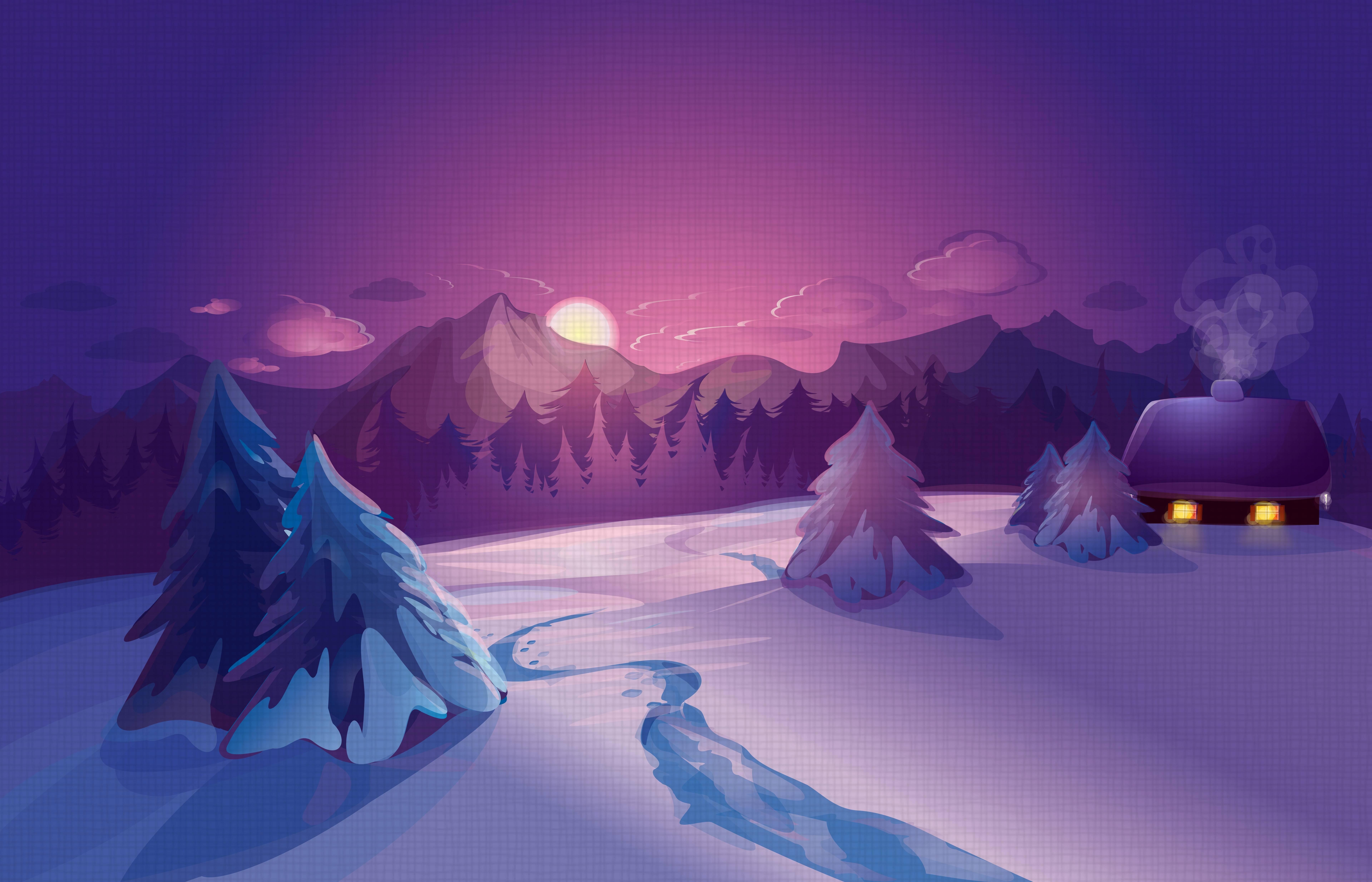графика горы скалы снег зима рисунок graphics mountains rock snow winter figure загрузить