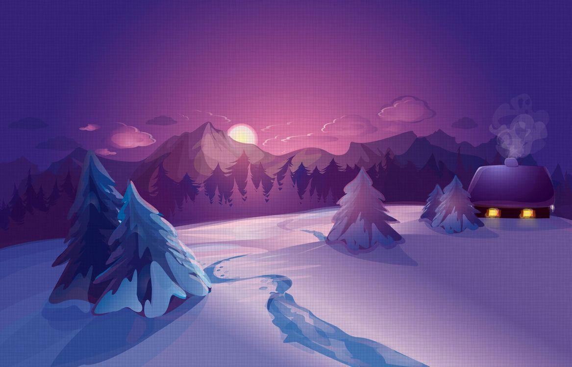 Фото бесплатно зима, снег, ночь, луна, деревья, домик, новогодняя ночь, рендеринг