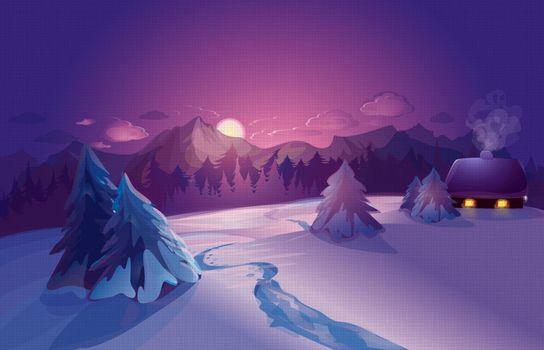 Бесплатные фото зима,снег,ночь,луна,деревья,домик,новогодняя ночь