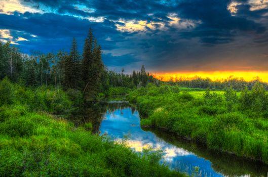 Бесплатные фото закат,река,деревья,альберта,канада,пейзаж